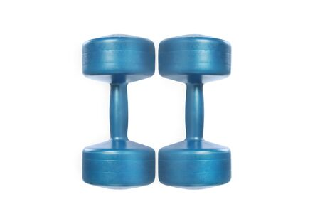 Two blue dumbbells for fitness isolated on white background. Studio shot. Clipping path included. Flat laz.