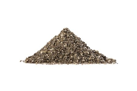 A pile of chia seed isolated on white background. Healthy food. Perfect heap of spice. Banque d'images