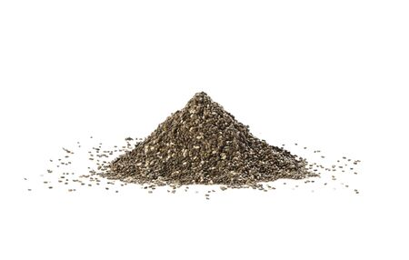 A pile of chia seeds isolated on white background. Healthy food. Perfect heap of spice.