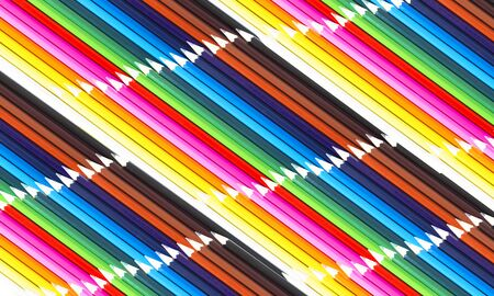 Colored pencils abstract background. Lots of colors, crayons in row. Back to school concept. Banque d'images