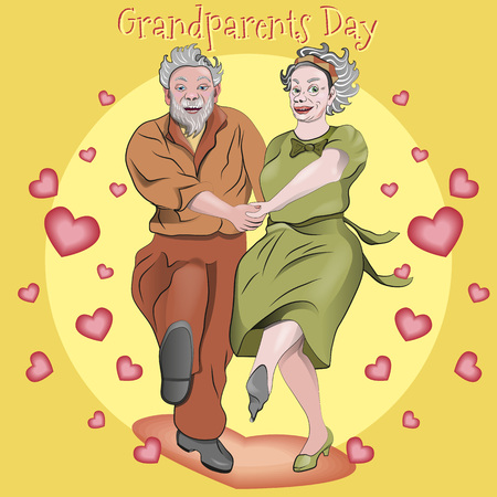 Grandmother and grandfather are happy with the holiday. Vector illustration. Illustration