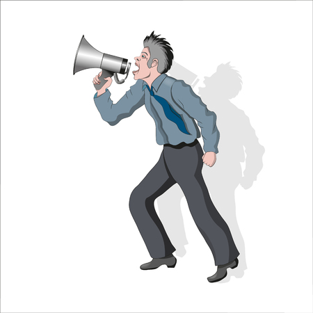 A person notifies people about important information. Shouts into a megaphone. Vector illustration.