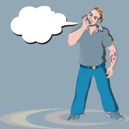 Der Mann schreit aufgeregt ins Mikrofon des Handys