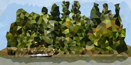 Green island with a lonely boat in a polygonal style. Vector illustration. Ilustração