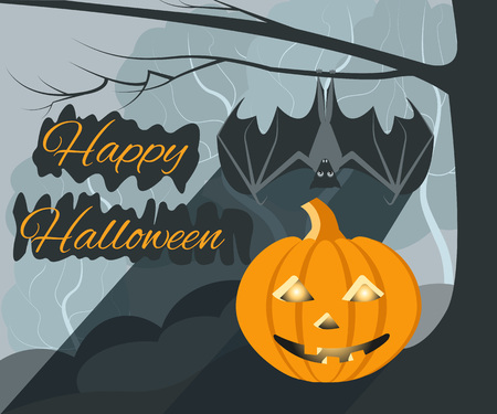 Pumpkin and bat symbolize the holiday of Halloween