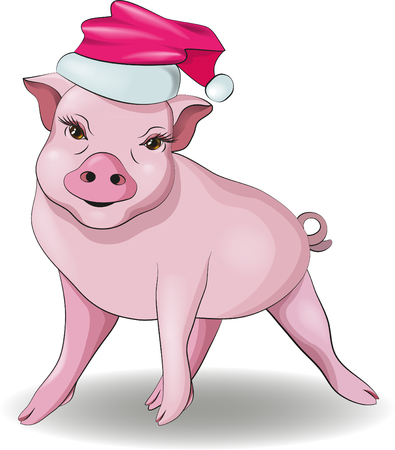 A little pig in a red holiday hat smiles Imagens