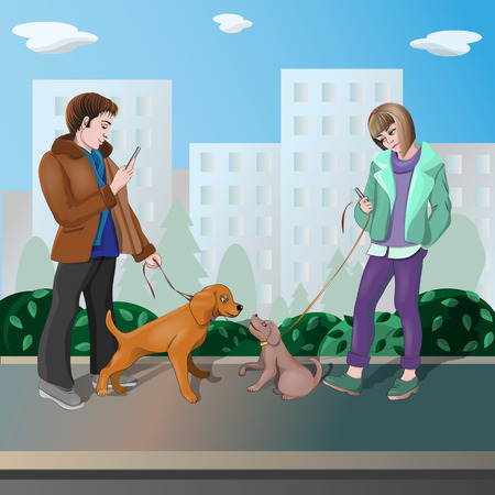 The girl and the boy came to a romantic date and instead of chatting, they looked at the phone. Only their dogs are happy chatting with each other. Vector illustration.