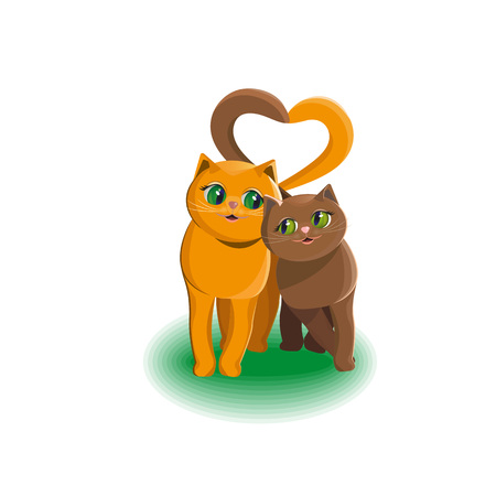 Two cats in love are inseparable. They are good together. Vector illustration Çizim