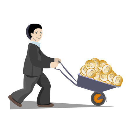 The businessman earned so much money that he had to drive them in a wheelbarrow.