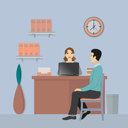 The client is sitting at the reception at the office worker