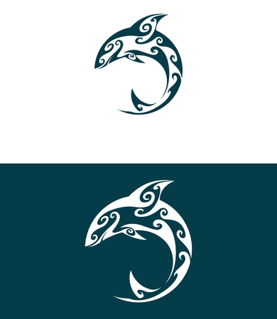 mamal: Abstract dolphin. Pattern. Ornamental. Decoration