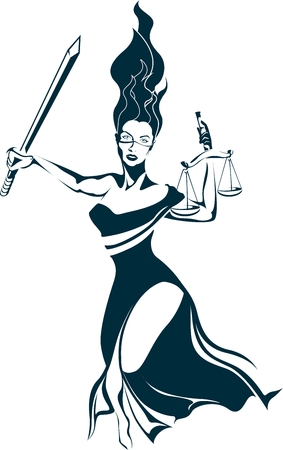 judgments: Lady Justice holding a sword and a scale Illustration