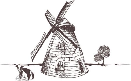 grain fields: Rustic wind mill with blades. Cow sitting on the ground.