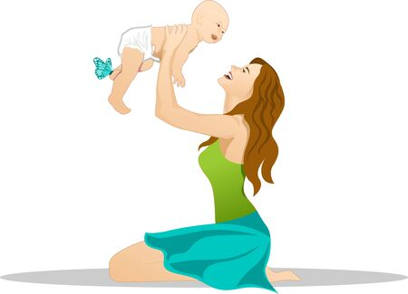 mother baby: Mother and baby playing and laughing. Happy family. Illustration