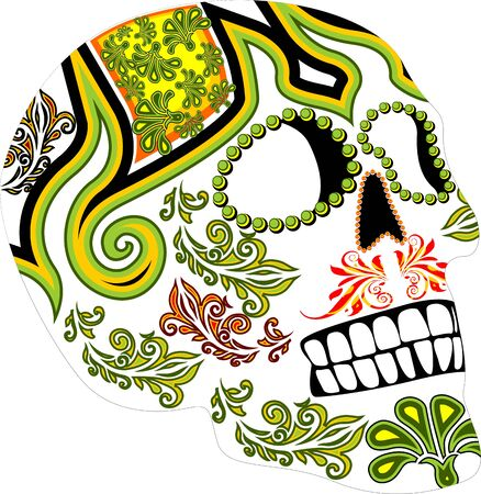 Day of the dead. Mexican festival. Ornamented skull Illustration