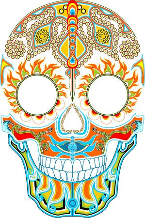 ornamented: Day of the dead. Mexican festival. Ornamented skull Illustration