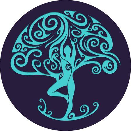 tree: Paper cut out yoga tree. Woman practicing yoga. Woman meditating. Vector illustration.