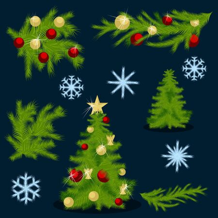 Christmas vectors collection pack. Christmas tree. Snowflakes. Branches. Decorations.
