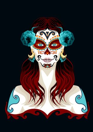 Day of the dead woman portrait illustration. Mexican festival