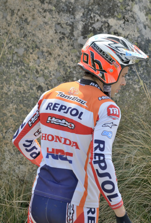 LOZOYUELA, SPAIN - APRIL 12th 2015: Spain trial championship. Soft photo for backgrounds, of Toni Bou, in Lozoyuela, on April 12th 2015. He won the race.