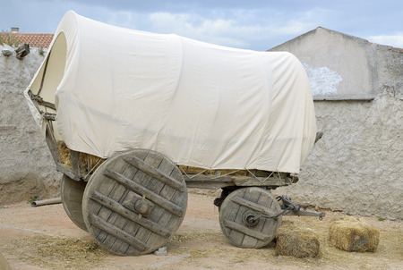 wagon: Vintage covered wagon used to transport straw, people and others things in western time