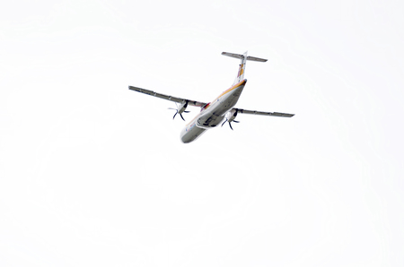taking off: MADRID, SPAIN - MAY 3th 2015: Aircraft -ATR 72-600-, of -Air Nostrum- airline, is taking off from Madrid-Barajas -Adolfo Suarez- airport, on May 3th 2015.