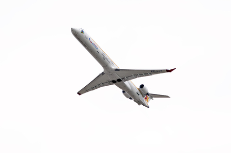 regional: MADRID, SPAIN - MAY 3th 2015: Aircraft -Bombardier Canadair CRJ-1000-, of -Air Nostrum- airline, is taking off from Madrid-Barajas -Adolfo Suarez- airport, on May 3th 2015.