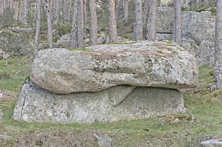 singular: Singular and large rock with moss, located at forest Stock Photo