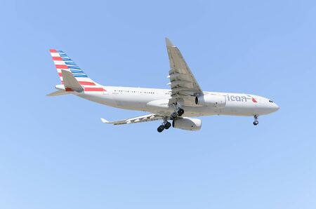 american airlines: MADRID, SPAIN - MAY 23th 2015: Aircraft -Airbus A330-243-, of -American Airlines- airline, landing on Madrid-Barajas -Adolfo Suarez- airport, on May 23th 2015.