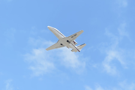 excel: MADRID, SPAIN - JUNE 14th 2015: Private jet -Cessna 560XLS Citation Excel-, of -Netjets Europe- airline, is taking off from Madrid-Barajas -Adolfo Suarez- airport, on June 14th 2015. Editorial