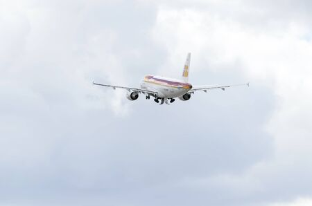taking off: MADRID, SPAIN - JUNE 14th 2015: Aircraft  is taking off from Madrid-Barajas -Adolfo Suarez- airport, on June 14th 2015.