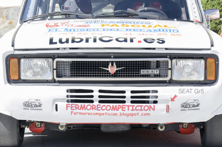 manuel: CANENCIA, SPAIN - JULY 25th 2015: Madrid rally championship. Car -Seat 124 FL-, of Manuel Moreno Morano, during the ascent to the mountain pass of Canencia, on July 25th 2015. Manuel Moreno pulled out the race, without running.