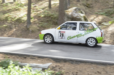 mountain pass: CANENCIA, SPAIN - JULY 25th 2015: Madrid rally championship. Car -Citroen AX-, of Heriberto Rodriguez, during the ascent to the mountain pass of Canencia, on July 25th 2015. Heriberto Rodriguez finished in 32th position.