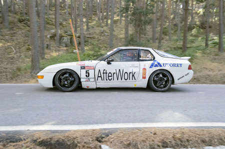 cs: CANENCIA, SPAIN - JULY 25th 2015: Madrid rally championship. -Porsche 968 CS-, of Fernando Navarrete, during the ascent to the mountain pass of Canencia, on July 25th 2015. Fernando Navarrete finished in 6th position.