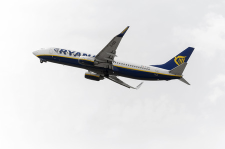 jumbo jet: MADRID, SPAIN - AUGUST 8th 2015: Aircraft -Boeing 737-8AS-, of -Ryanair- airline, is taking off from Madrid-Barajas -Adolfo Suarez- airport, on August 8th 2015.