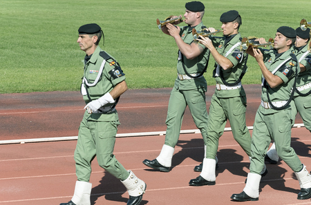 fairs: ALCALA DE HENARES, SPAIN - AUGUST 29th 2015: Unidentified soldiers of paratrooper brigade band music, are performing a show in Alcala de Henares, on August 29th 2015. Army and security corps of Spain have done a show, during the fairs of Alcala de Henares