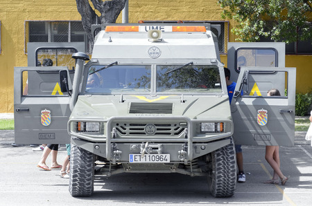 fairs: ALCALA DE HENARES, SPAIN - AUGUST 29th 2015: URO VAMTAC, -High Mobility Tactical Vehicle- of spanish army, during a show, in Alcala de Henares, on August 29th 2015. Army and security corps of Spain have done a show, during the fairs of Alcala de Henares. Editorial