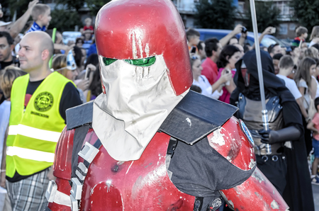 garrison: TORREJON DE ARDOZ, SPAIN - SEPTEMBER 12th 2015: VII Training day of spanish garrison 501st legion, -Star wars-. Charitable parade in favor of -the red cross-. Unidentified man disguised of -Galactic Marine-, by the streets of Torrejon de Ardoz, on Septemb