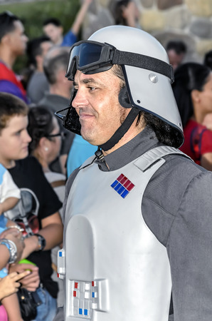 garrison: TORREJON DE ARDOZ, SPAIN - SEPTEMBER 12th 2015: VII Training day of spanish garrison 501st legion, -Star wars-. Charitable parade in favor of -the red cross-. Unidentified man disguised of -Imperial officer-, by the streets of Torrejon de Ardoz, on Septem
