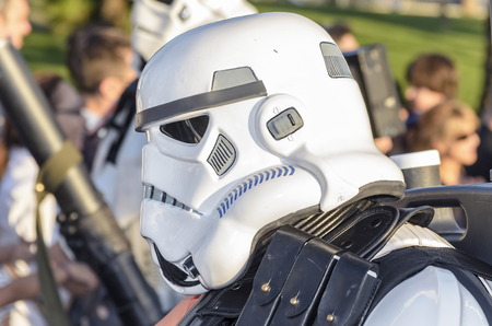garrison: TORREJON DE ARDOZ, SPAIN - SEPTEMBER 12th 2015: VII Training day of spanish garrison 501st legion, -Star wars-. Charitable parade in favor of -the red cross-. Unidentified man disguised of -Sandtrooper-, by the streets of Torrejon de Ardoz, on September 1