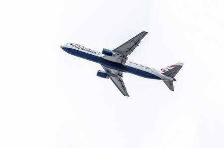 taking off: MADRID, SPAIN - MAY 3th 2015: Aircraft -Boeing 767-336-, of -British Airways- airline, is taking off from Madrid-Barajas -Adolfo Suarez- airport, on May 3th 2015. Editorial