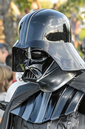 garrison: TORREJON DE ARDOZ, SPAIN - SEPTEMBER 12th 2015: VII Training day of spanish garrison 501st legion, -Star wars-. Charitable parade in favor of -the red cross-. Unidentified man disguised of -Darth Vader-, by the streets of Torrejon de Ardoz, on September 1 Editorial