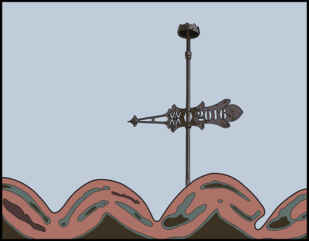 weather vane: Lightning rod and weather vane, with year 2016 engraved, over roof