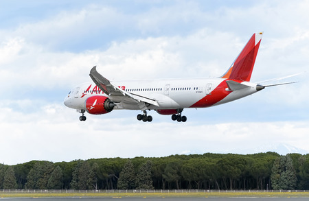 twin engine: MADRID, SPAIN - MARCH 05th 2016: Aircraft -Boeing 787-8 Dreamliner-, of -Avianca- airline, is landing in Madrid Barajas airport (Spain), on March 05th 2016. Photo set: 5 of 5. Editorial