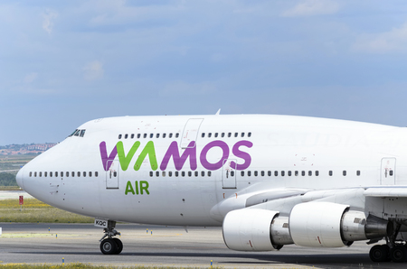 boeing 747: MADRID, SPAIN - MAY 15th 2016: Commercial aircraft -Boeing 747-, of -Wamos Air- airline, is ready to take off from Madrid-Barajas -Adolfo Suarez- airport, on May 15th 2016.