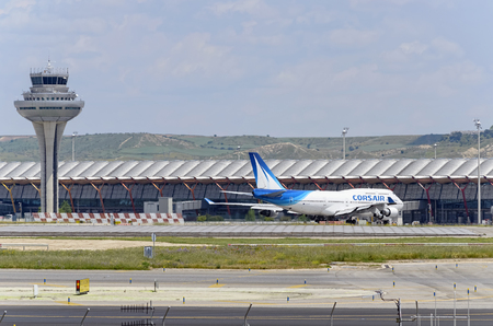 boeing 747: MADRID, SPAIN - MAY 15th 2016: Airliner -Boeing 747-, of -Corsair International- airline, is going direction to runway, ready to take off from Madrid-Barajas -Adolfo Suarez- airport, on May 15th 2016. Editoriali