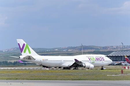 boeing 747: MADRID, SPAIN - MAY 15th 2016: Aircraft -Boeing 747-, of -Wamos Air- airline, direction to runway of Madrid-Barajas -Adolfo Suarez- airport, ready to take off, on May 15th 2016.