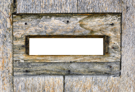 peephole: Wood mailbox. Inside view. Blank spyhole for insert anything you need. Intense colors. Stock Photo