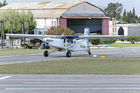 parachutists: CASTELLON, SPAIN - AUGUST 1th 2016: Small plane Pilatus PC-6B2-H4 Turbo Porter, is parking to pick up parachutists, in Castellon de la Planas airfield, on August 1th 2016.