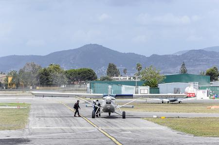 airscrew: CASTELLON, SPAIN - AUGUST 1th 2016: Small plane Pilatus PC-6B2-H4 Turbo Porter, picking up parachutists, in Castellon de la Planas airfield, on August 1th 2016.